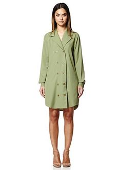 Olive Double Breasted Shirt Dress