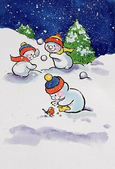Little Snowmen Snowballing, 1996 (w/c) by Diane Matthes (Contemporary Artist), winter