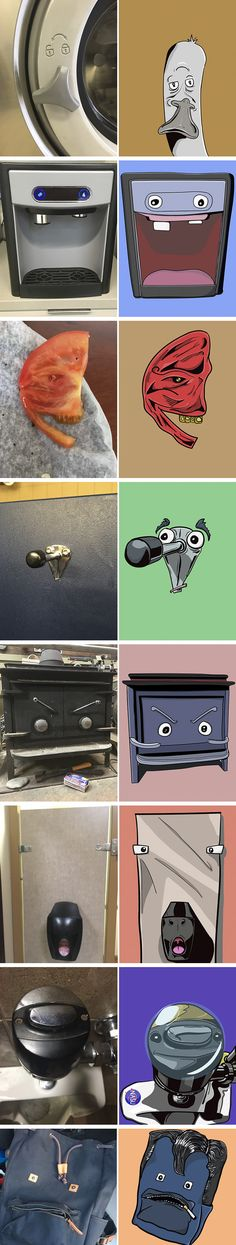 Artist Create Awesome Characters Out Of The Faces He Imagine From Pareidolia (By Keith Larsen)
