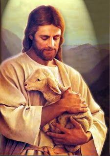 beautiful painting of jesus christ and sheep image