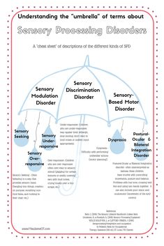 A cute handout to explain the different types of sensory processing disorder that are out there! SPD has 3 categories and many sub-categories. It can be confusing! This is a great sensory processing resource for parents, teachers, and therapists! Sensory Processing Disorder Symptoms, Sensory Disorder, Sensory Integration Therapy, Sensory Therapy, Speech Therapy, Sensory Diet, Sensory Issues, Counseling Activities, Sensory Activities