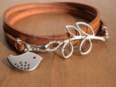 Multi Wrap Kamel flach Leder-Armband mit Silberfolie Stecker und Vogel