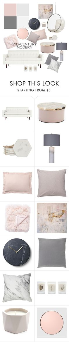 """""""Mid-Century Modern Living Room"""" by mimimars303 ❤ liked on Polyvore featuring interior, interiors, interior design, home, home decor, interior decorating, Design Within Reach, Broste Copenhagen, Basset Mirror Company and Pottery Barn"""