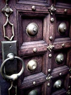 wooden door with brass embellishments