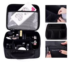 ROWNYEON Mini Makeup Train Case Makeup Travel Bag Cosmetic Bag Organizer Professional Portable Cosmetic Makeup Case for Women Storage Bag Mini, Black with White Edge