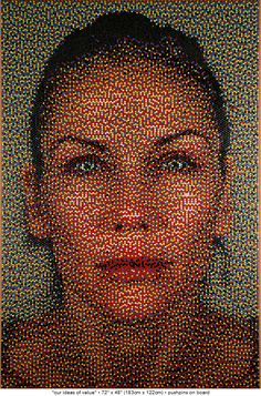 Push pin art. Wow. Watch out Chuck Close.