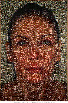 Push pin art. Wow. Watch out Chuck Close.
