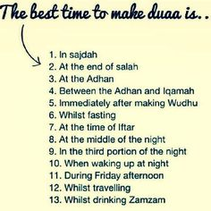 Best time to duaa