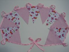 7 meters butterfly garden and small pink check party bunting / wedding bunting