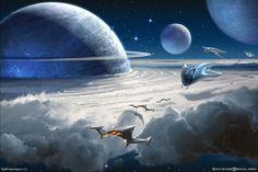 """Space Dust Cloud"" by Sviatoslav Gerasimchuk. Sci Fi Fantasy, Fantasy World, Science Fiction Kunst, Space Dust, Sci Fi Environment, Alien Worlds, Futuristic Art, Fantasy Landscape, Landscape Design"