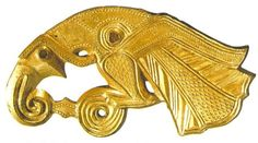 Avian/Raptor mount, 7th century, Götland, Sweden. Notice similarities to shield mounts from Vendel, Valsgärde, Sutton Hoo, and the 'Opposed-Raptor-and-Fish' mount from the Oglay Hay (Staffordshire) Hoard.