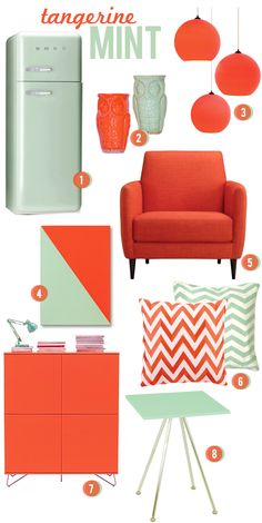 tangerine and mint. i'm craving some chevron pillows and prints