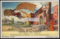 Leonardo De Vinci's Flying Machine and Parachute 50 Y/O Card