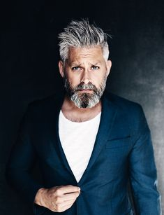 Model swedish grey hair silverfox mens style beard grooming silver male men's apperal  men's clothes suit menwithstyle tshirt