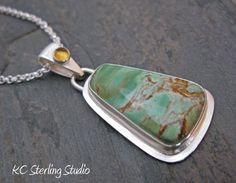 Natural variscite and sterling silver metalsmithed necklace on rolo chain by kcsterlingstudio on Etsy https://www.etsy.com/listing/124691545/natural-variscite-and-sterling-silver