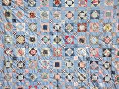 old quilt top, all vintage cotton print fabric, hand-stitched patchwork blocks