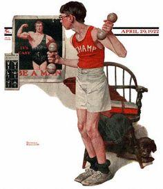 Boy Lifting Weights - Be a Man