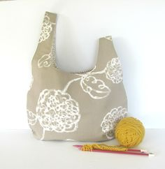 Large Japanese Knot bag for yarn and craft supplies or use as a handbag or diaper bag