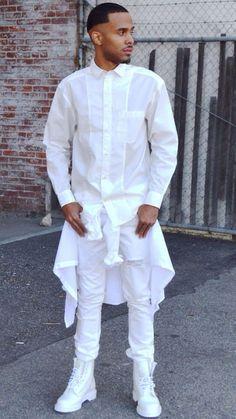 63bcd74a596d 5 Estilos diferentes de looks Branco para o Réveillon. All White Mens OutfitAll  ...