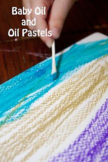 Baby Oil and Oil Pastels is a great blending art project