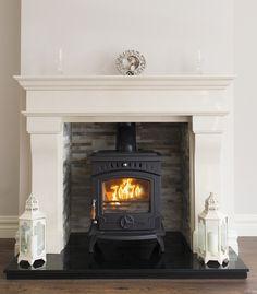White Fireplace, Stove Fireplace, Fireplace Remodel, Wood Burning Stove Insert, Wood Burning Fireplace Inserts, Log Burner Living Room, Living Room With Fireplace, Outdoor Fireplace Designs, Fireplace Ideas