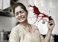 This poster tells about the traffic accident when the drivers take a phone call. As we know, pick up phones is the most distract behaviour for families when they are driving. We can see the woman's face, it tells that huge noise of crack from the other side, and the blood tells the accident from the driver.