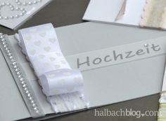 halbachblog I DIY I Hochzeitseinladungen Grau, Weiß I Bänder I Strasssticker