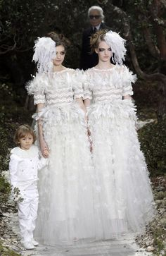 Karl Lagerfeld Supports Gay Marriage In Chanel Couture Chanel Wedding Dress, Couture Wedding Gowns, Wedding Dresses, Karl Lagerfeld, Spring Couture, Gay, Chanel Couture, Lesbian Wedding, Wedding Matches