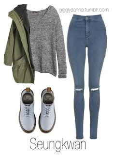 """Casual City Date // Seungkwan"" by suga-infires ❤ liked on Polyvore featuring Topshop, H&M and Dr. Martens"