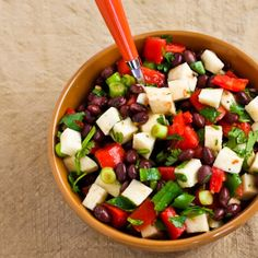 Black Bean Salad with Jicama, Tomatoes, Cilantro, and Lime -- makes a light, fresh main dish for 3 on Phase 1 (without oil) or Phase 3.