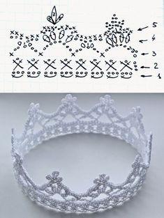 Wzory szydełkowe - Her Crochet Crochet Crown Pattern, Crotchet Patterns, Crochet Diagram, Crochet Chart, Thread Crochet, Crochet Patterns Amigurumi, Crochet Toys, Crochet Stitches, Crochet Flowers