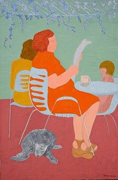 Avery, March (1932-...) Reading at the cafe, 1979