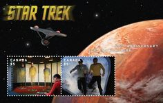 Canada post issued a unique collection of Star Trek 50th anniversary stamp depicting cast members and battle cruiser from Star Trek: The Original Series.  The products available for Star Trek 50th anniversary stamp are prestige booklet, official first day covers, souvenir sheets, uncut press sheets, panes, and booklets, fans will discover a galaxy of memorabilia, including postcards and stamp dispensers.