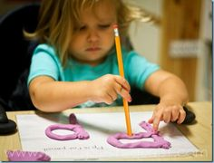 Letter P is for Pencil Poking in Play Dough! Tot School from @{1plus1plus1} Carisa