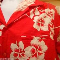 Hilo-Hattie-Size-XL-Hawaiian-Shirt-Red-Floral-Buttoned-Short-Sleeve-Pocket-USA