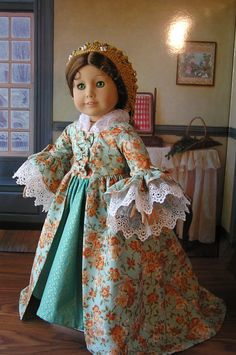 1770's Style Gown for American Girl Doll. $45.00, via Etsy.