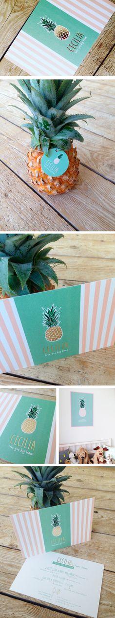 Welcome Cecilia // pineapple // goudfolie // gold foil // love you big time // little girl // mini ananas // geboortekaartje // meisje // roos