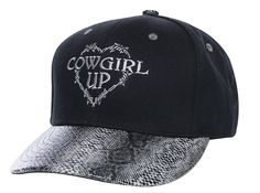 7113f44135f5d Cowgirl Up Womens Black Cotton Faux Snakeskin Barbed Wire Heart Ball Cap