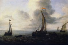 #5 Jan Porcellis, Dutch ships at sea, 1624. In this seascape we can see some fishing boats conquering the rough wind. However, the painting shows us more than just the ships. Equally important is the splendid view of the sea, the turbulent water and the use of atmospheric perspective. The fishing boats seem to fade away towards the horizon, giving the painting depth.