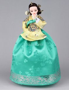 Items similar to Authentic Korean Art Doll Queen In-Kyung Collectibles on Etsy Cheongsam, Hanfu, Korean Hanbok, Korean Dress, Korean Traditional Dress, Traditional Dresses, Pretty Dolls, Cute Dolls, Ao Dai