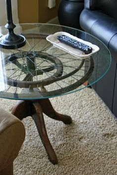 wheelchair wheel and a stool