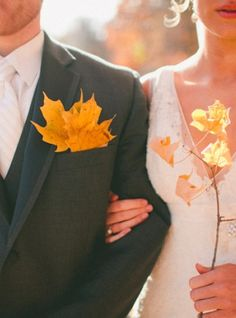 Autumn leaves boutineer and bouquet for a Fall wedding