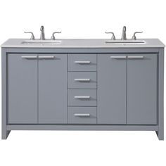 Filipo x 4 Drawer 4 Door Vanity Cabinet - Grey Finish Rustic Bathroom Vanities, Vintage Bathrooms, Vanity Cabinet, Vanity Sink, Office Bathroom, Small Bathroom, Gray Vanity, Double Sink Vanity, Porcelain Sink