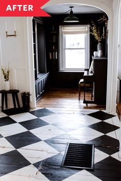 New house Painted Wood Floor Redo - Wood Floors Painted with Checkered Pattern Painted Kitchen Floors, Painted Hardwood Floors, Old Wood Floors, White Wood Floors, Kitchen Flooring, Painted Porch Floors, White Painted Floors, Checkered Floor Kitchen, Checkered Floors