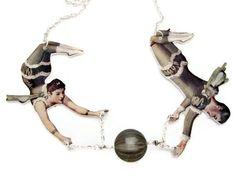 Circus Acrobat Trapeze Necklace Green Vintage Swarovski Nickel Free Silver. $28.00, via Etsy.
