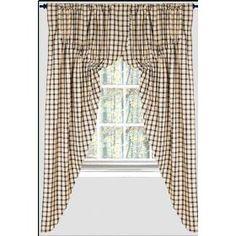 Prairie Curtains - Windowpane Check Black - Primitive Country Rustic Window Treatment $59.99