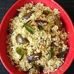 Vangi bhath (Brinjal Masala rice), Recipe, Indian Food recipe, Vegetarian recipe