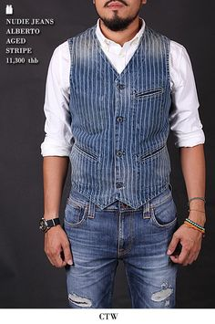 Love the waistcoat, not the jeans though. The vest is what makes the outfit. Love the waistcoat, not the jeans though. The vest is what makes the outfit. Vest Outfits, Denim Outfit, Cool Outfits, Denim Waistcoat, Denim Jacket Men, Waistcoat Men Casual, Men's Denim, Chaleco Casual, Hipster Looks
