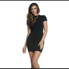 "Exposed Back Mini Dress #884561-BLAL Short sleeve bodycon dress with large backside cutout. 92% Polyester 10% Spandex. Bust 34"", waist 28"", hips 32"", length from armpit down 23"". Blvd Collections Dresses"