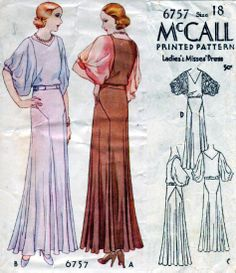 McCall 6757 | ca. 1932 Ladies' & Misses' Dress 30s long dress puff sleeves white lavender brown pink dinner evening wear gown bias cut art deco illustration print ad vintage fashion style 1930s Fashion, Kids Fashion, Vintage Fashion, Fashion Outfits, Womens Fashion, Retro Vintage Dresses, Vintage Clothing, Vintage Outfits, Mccalls Patterns